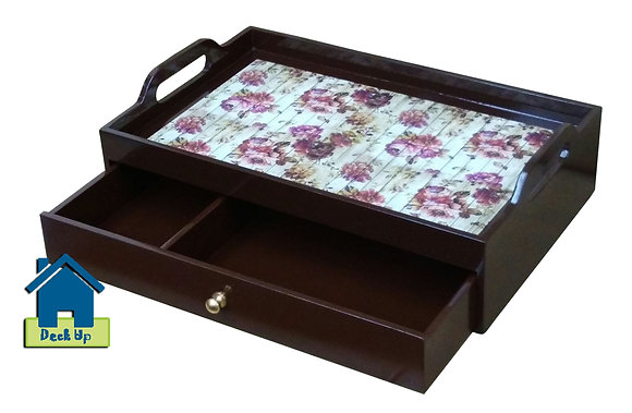 Drawer Tray - Distressed Floral- Two Compartment