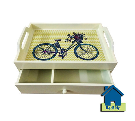 Drawer Tray - Chevron Bicycle - Two Compartment