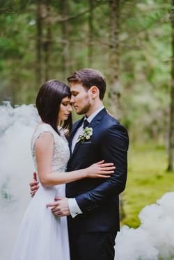 Vestuvių fotosesija su dūmais