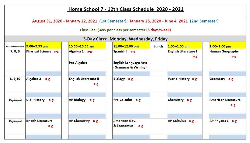 Home School 7-12th Class Schedule 2020-2