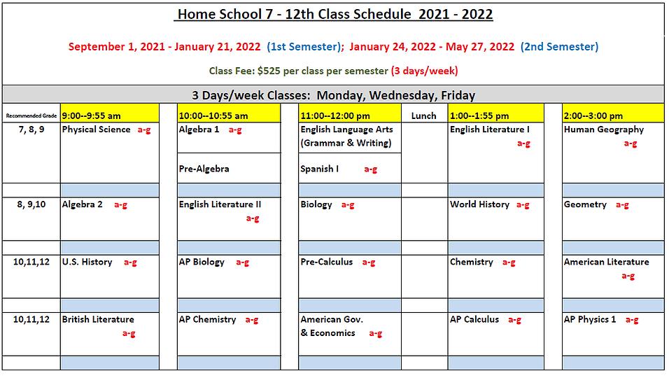 Home School 7-12th Class Schedule 2020-2
