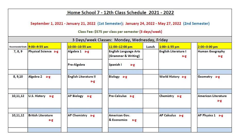 Home School 7-12th Class Schedule 2021-2