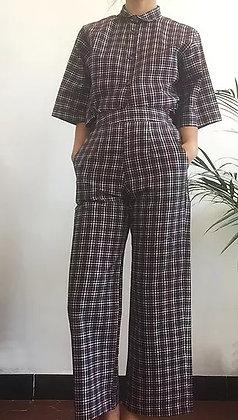 Double double, pantalon Tartan taille haute