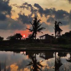 Quintal da primeira morada em Bali.