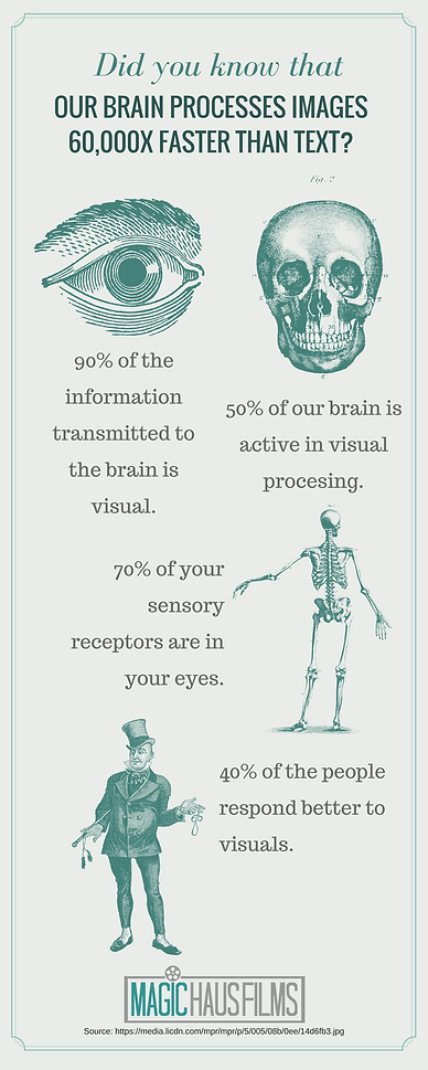 Did you know that our mind processes images 60,000X faster than text?: brain is visual, visual processing, sensory receptors, respond better to visuals, Magic Haus Films