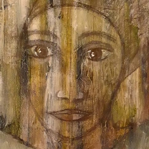Peasant woman's eyes lost in the moonlight