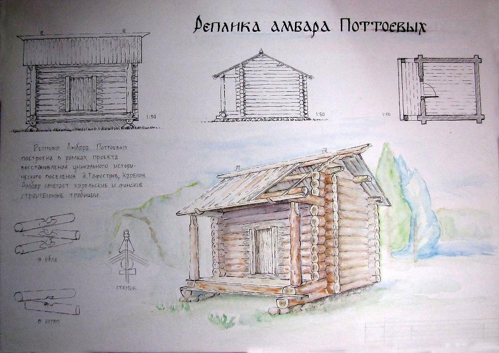 Амбар Поттоевых, воссозданный в рамках Летней школы «Технологии Калевалы в деревне Гафостров».