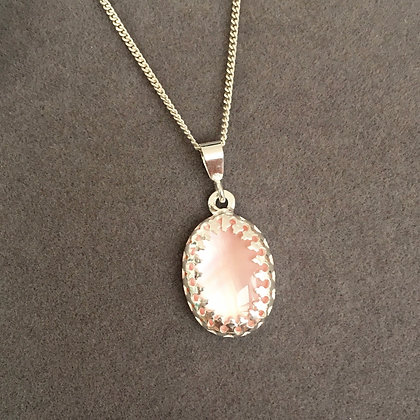 Blush Pink Mother of Pearl Pendant Necklace