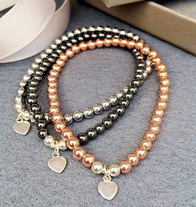 Hematine Love Heart Charm Bracelet