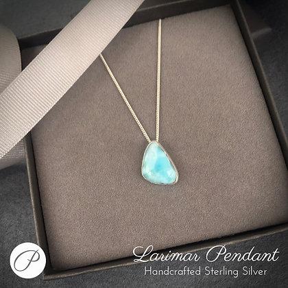 Genuine Larimar Sterling Silver Pendant