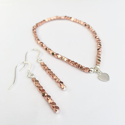 'Rose Gold' Bracelet & Earring Set