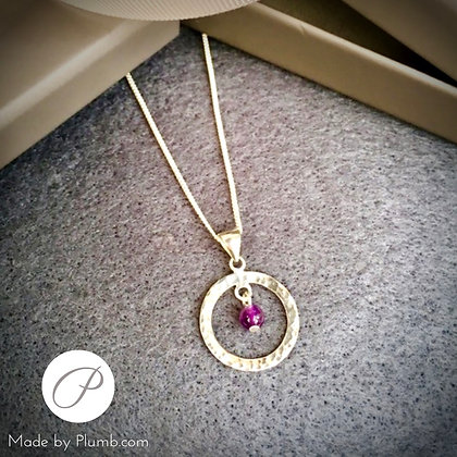 Hammered Silver Pendant with Amethyst Drop