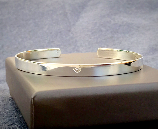Solid Sterling Silver Love Heart Bangle
