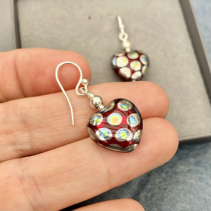 Beautiful Czech Glass Ruby Red Handcrafted Heart Drops