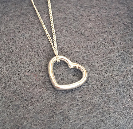 Sterling Heart Drop Necklace