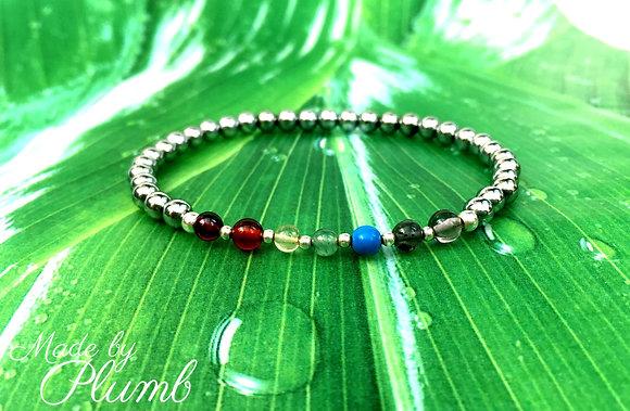 Chakra Inspired Bracelet - Silver Hematine