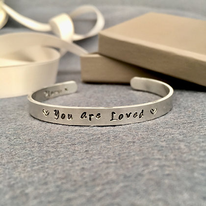 'You are Loved' Hand Stamped Bangle