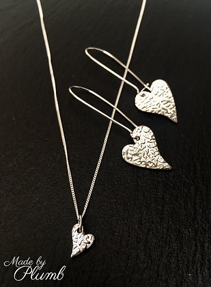 Pure Silver Textured Heart Pendant & Drop Set