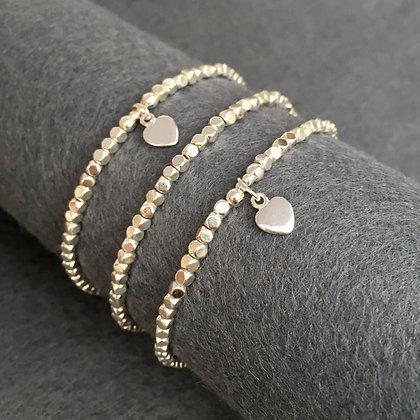 Cubed Silver Hematine Heart Bracelet