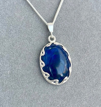 Beautiful Midnight Blue Sodalite Pendant with Love Heart Mount