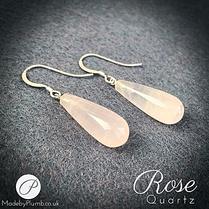 Delicate Rose Quartz & Sterling Silver Drops