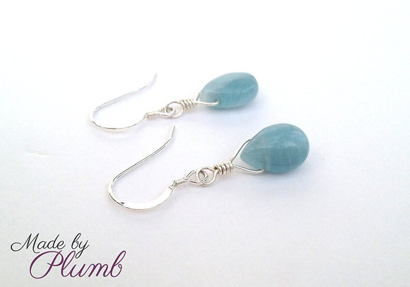 Aquamarine Hand-wrapped Sterling Drops