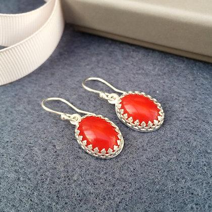 Fiery Red Sea Bamboo Coral Drop Earrings