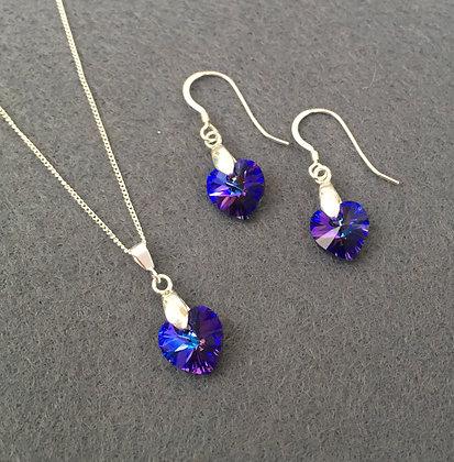 'Opulence' Deep Purple Swarovski Necklace & Earring Set