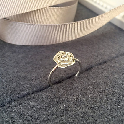 Solid Sterling Silver Rose Flower Ring