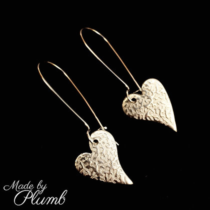 Pure Silver Textured Heart Drops