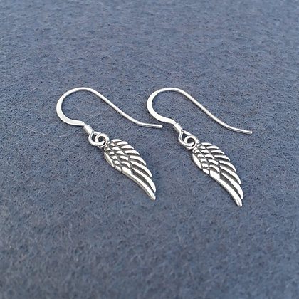 Sterling Feathered Angel Wing Earrings