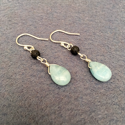 Fire & Water - Aquamarine & Lava Drop Earrings