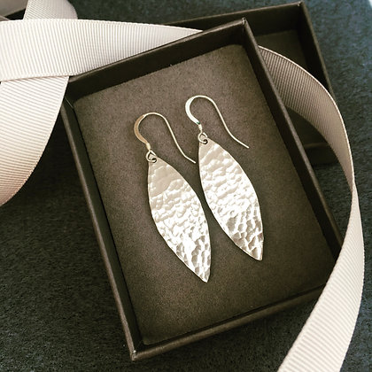 Hammered 'Willow' Sterling Silver Drop Earrings