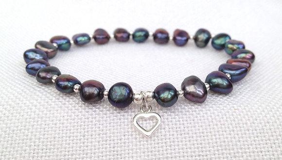 Freshwater Pearl & Sterling Heart Bracelet
