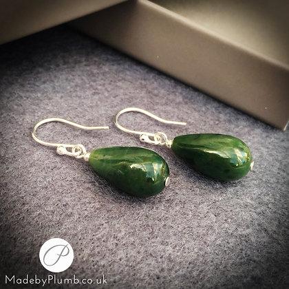 Genuine Green Nephrite Jade Teardrop Earrings