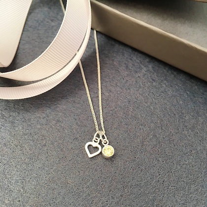 Love Heart & Birthstone Necklace