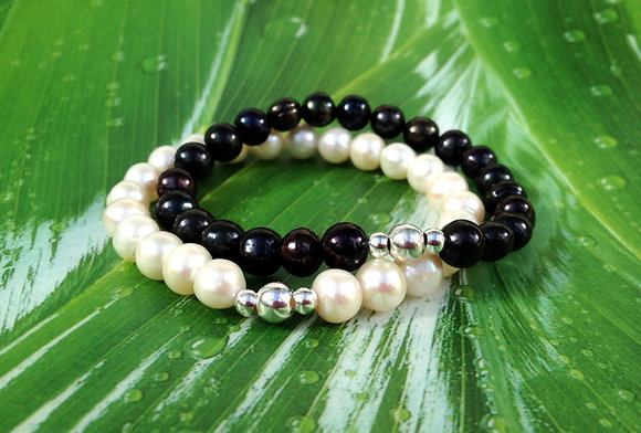 Freshwater Pearl in Black & Sterling Bracelet
