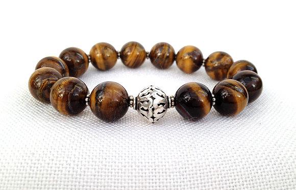 Tigers Eye & Handmade Sterling Bead Bracelet