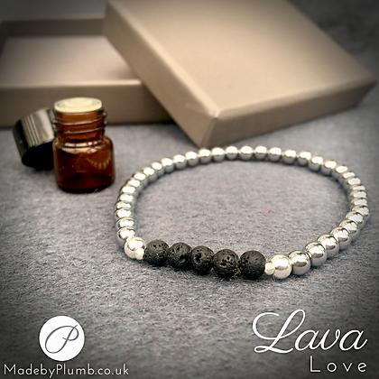 Lava Love - Grounding Lava & Hematine Diffuser Bracelet