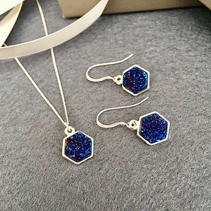 Electric Blue Druzy Quartz Necklace & Earring Set