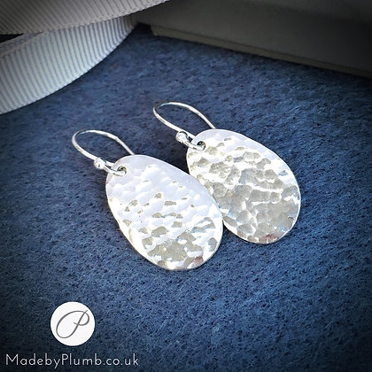 Handcrafted Hammered Silver Drops