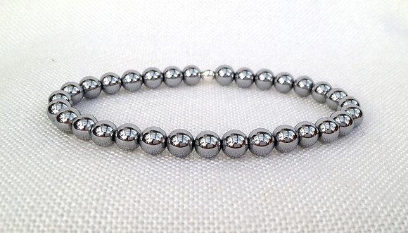 Silver Grey Hematine Stacker Bracelet