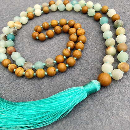 Amazonite Beaded Mala Necklace with Tassel