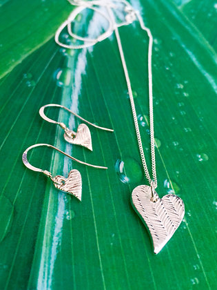 Handcrafted Pure Silver Heart Set