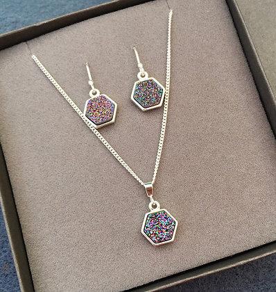 Celestial Druzy Quartz Necklace & Earring Set