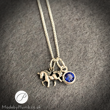 Sterling Unicorn & Birthstone Necklace