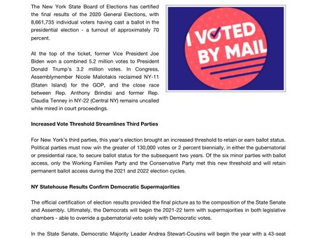 NY State Certifies Final Election Results