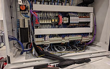 wires and terminals inside a control cabinet connecting many components