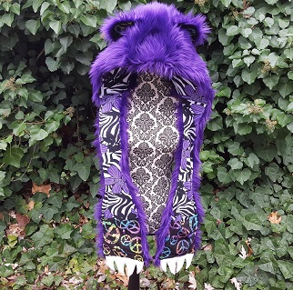 Purple bear hood new front