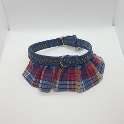 Dog Collar ruffle pink light blue